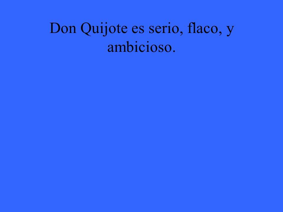 Don Quijote es serio, flaco, y ambicioso.
