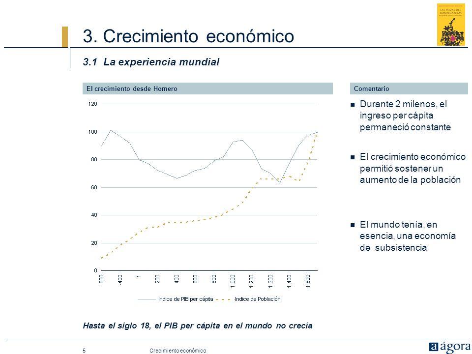 5 3. Crecimiento económico 3.1 La experiencia mundial Hasta el siglo 18, el PIB per cápita en el mundo no crecía El crecimiento desde Homero Crecimien