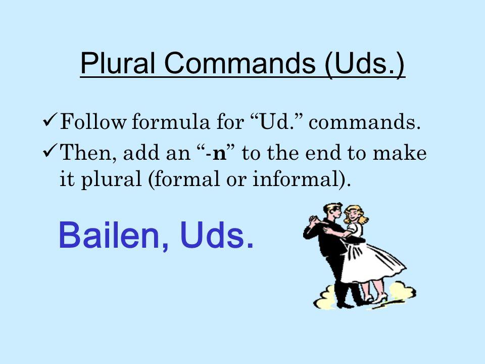 Plural Commands (Uds.) Follow formula for Ud.commands.