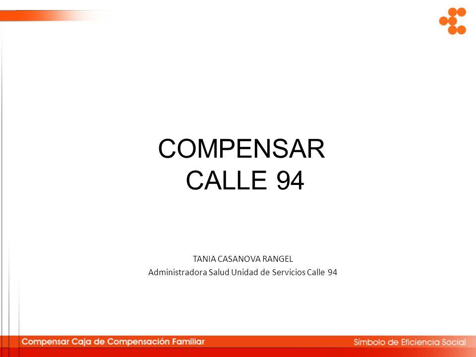 COMPENSAR CALLE 94 TANIA CASANOVA RANGEL Administradora Salud Unidad de Servicios Calle 94