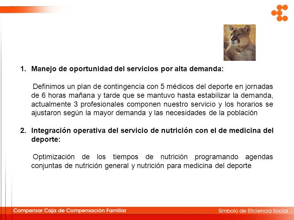 1.Manejo de oportunidad del servicios por alta demanda: Definimos un plan de contingencia con 5 médicos del deporte en jornadas de 6 horas mañana y ta