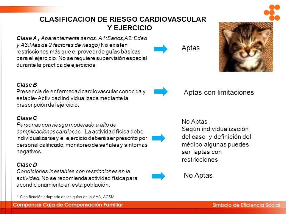 Clase A, Aparentemente sanos. A1:Sanos,A2: Edad y A3:Mas de 2 factores de riesgo) No existen restricciones más que el proveer de guías básicas para el