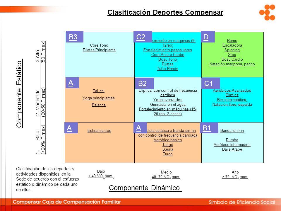 Clasificación de los deportes y actividades disponibles en la Sede de acuerdo con el esfuerzo estático o dinámico de cada uno de ellos. Banda sin Fin