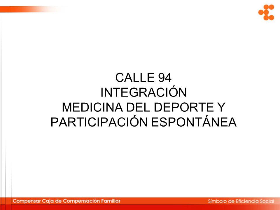CALLE 94 INTEGRACIÓN MEDICINA DEL DEPORTE Y PARTICIPACIÓN ESPONTÁNEA