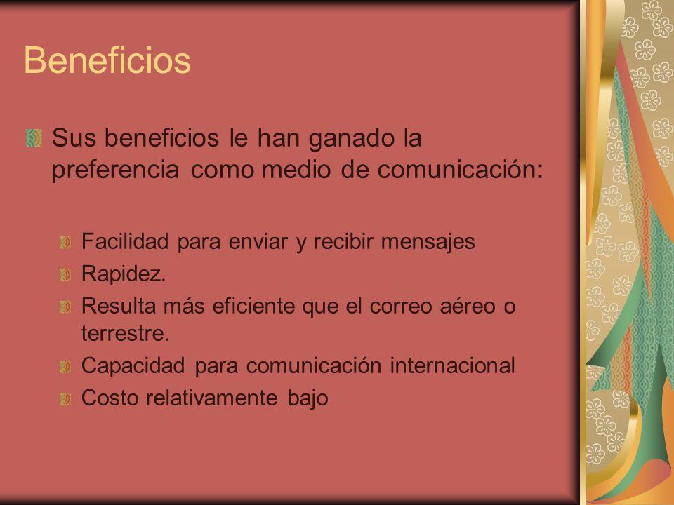 Beneficios Sus beneficios le han ganado la preferencia como medio de comunicación: Facilidad para enviar y recibir mensajes Rapidez.
