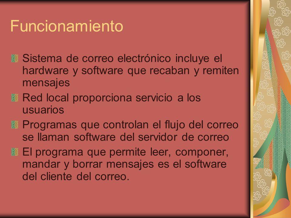 Funcionamiento Sistema de correo electrónico incluye el hardware y software que recaban y remiten mensajes Red local proporciona servicio a los usuarios Programas que controlan el flujo del correo se llaman software del servidor de correo El programa que permite leer, componer, mandar y borrar mensajes es el software del cliente del correo.