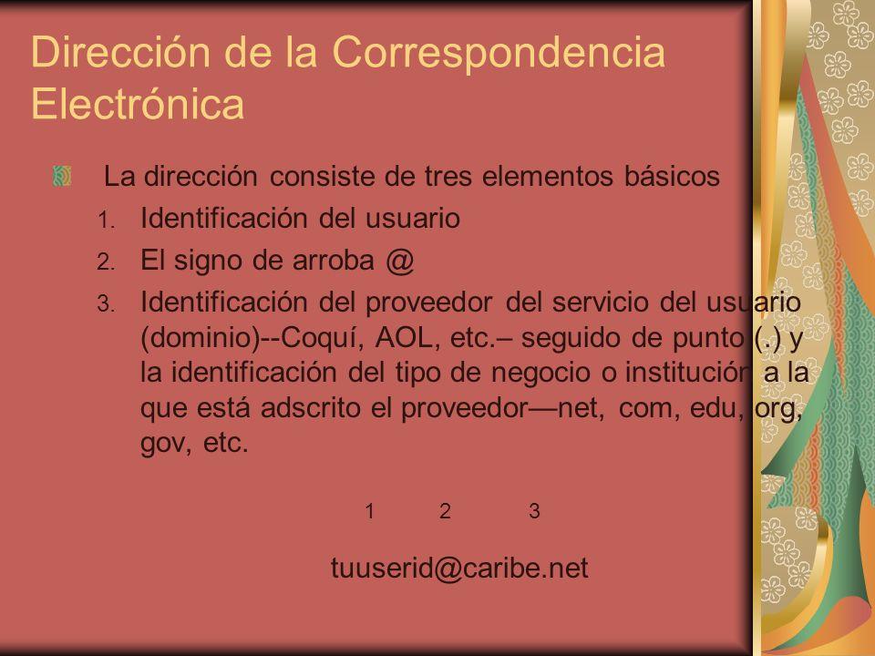 Dirección de la Correspondencia Electrónica La dirección consiste de tres elementos básicos 1. Identificación del usuario 2. El signo de arroba @ 3. I