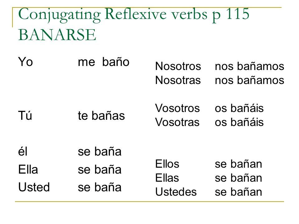 Conjugating Reflexive verbs p 115 BANARSE Yo me baño Tú te bañas élse baña Ellase baña Ustedse baña Nosotrosnos bañamos Nosotrasnos bañamos Vosotrosos
