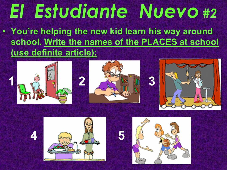 El Estudiante Nuevo #2 Youre helping the new kid learn his way around school. Write the names of the PLACES at school (use definite article): 1 2 3 4