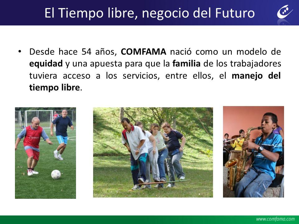 El Tiempo libre, negocio del Futuro Desde hace 54 años, COMFAMA nació como un modelo de equidad y una apuesta para que la familia de los trabajadores