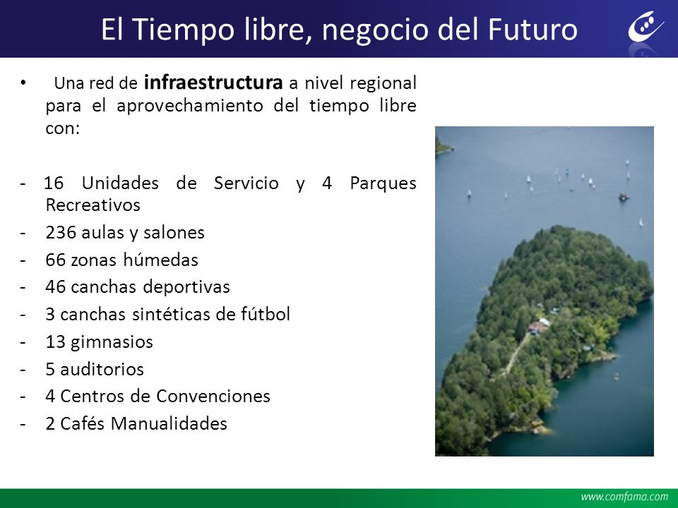El Tiempo libre, negocio del Futuro Una red de infraestructura a nivel regional para el aprovechamiento del tiempo libre con: - 16 Unidades de Servici