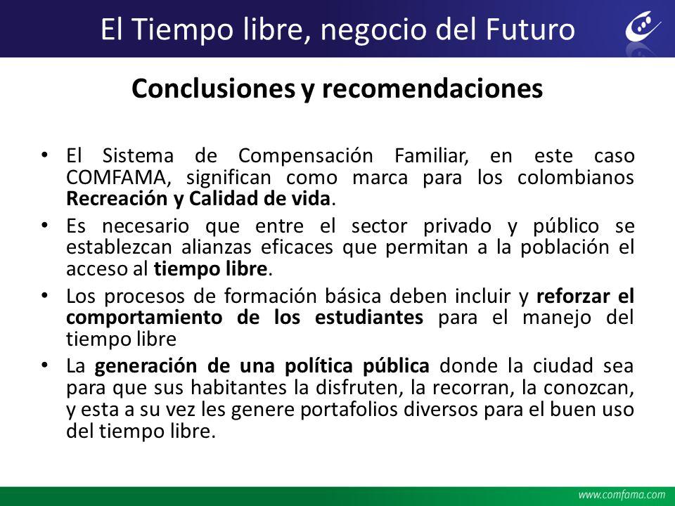 Conclusiones y recomendaciones El Sistema de Compensación Familiar, en este caso COMFAMA, significan como marca para los colombianos Recreación y Cali