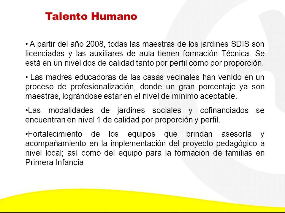 Talento Humano A partir del año 2008, todas las maestras de los jardines SDIS son licenciadas y las auxiliares de aula tienen formación Técnica. Se es