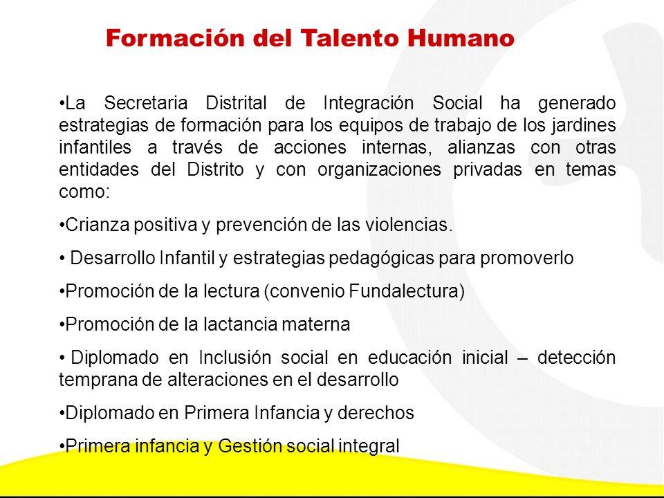 Formación del Talento Humano La Secretaria Distrital de Integración Social ha generado estrategias de formación para los equipos de trabajo de los jar