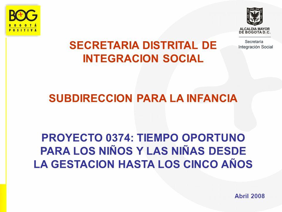 SECRETARIA DISTRITAL DE INTEGRACION SOCIAL SUBDIRECCION PARA LA INFANCIA PROYECTO 0374: TIEMPO OPORTUNO PARA LOS NIÑOS Y LAS NIÑAS DESDE LA GESTACION