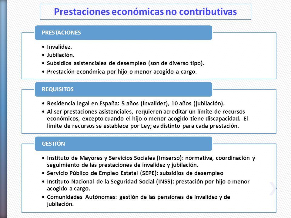 Prestaciones económicas no contributivas Invalidez. Jubilación. Subsidios asistenciales de desempleo (son de diverso tipo). Prestación económica por h