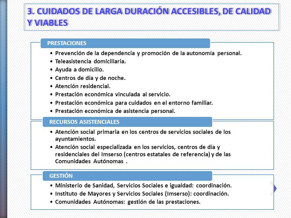 3. CUIDADOS DE LARGA DURACIÓN ACCESIBLES, DE CALIDAD Y VIABLES Prevención de la dependencia y promoción de la autonomía personal. Teleasistencia domic