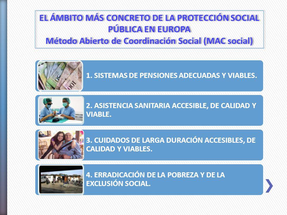 1. SISTEMAS DE PENSIONES ADECUADAS Y VIABLES. 2. ASISTENCIA SANITARIA ACCESIBLE, DE CALIDAD Y VIABLE. 3. CUIDADOS DE LARGA DURACIÓN ACCESIBLES, DE CAL
