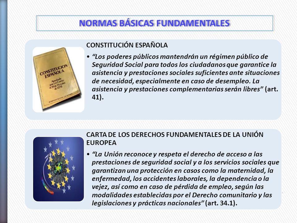 NORMAS BÁSICAS FUNDAMENTALES CONSTITUCIÓN ESPAÑOLA Los poderes públicos mantendrán un régimen público de Seguridad Social para todos los ciudadanos qu