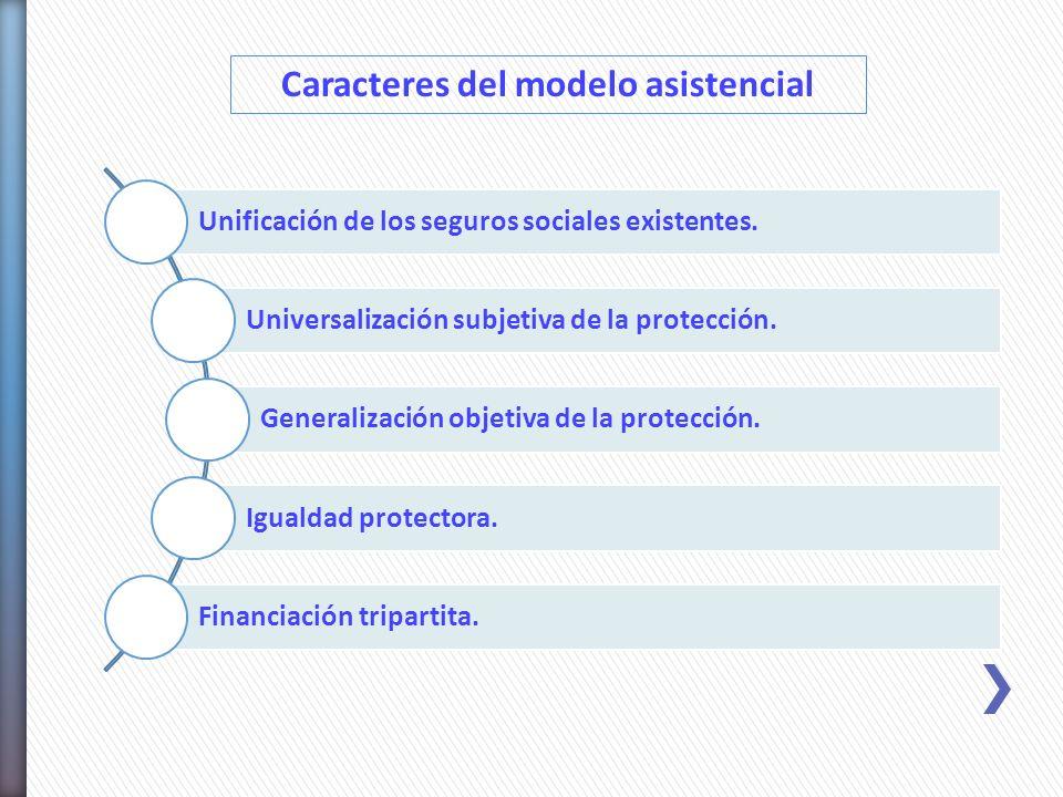 Unificación de los seguros sociales existentes. Universalización subjetiva de la protección. Generalización objetiva de la protección. Igualdad protec