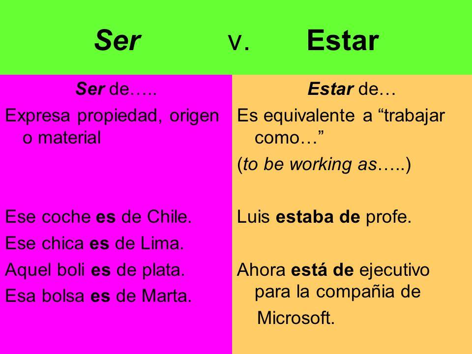 Ser v.Estar Ser de….. Expresa propiedad, origen o material Ese coche es de Chile.