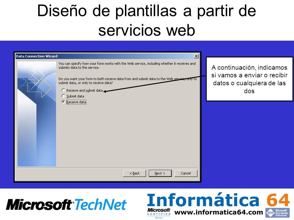 Diseño de plantillas a partir de servicios web A continuación, indicamos si vamos a enviar o recibir datos o cualquiera de las dos