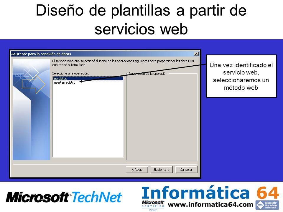 Diseño de plantillas a partir de servicios web Una vez identificado el servicio web, seleccionaremos un método web