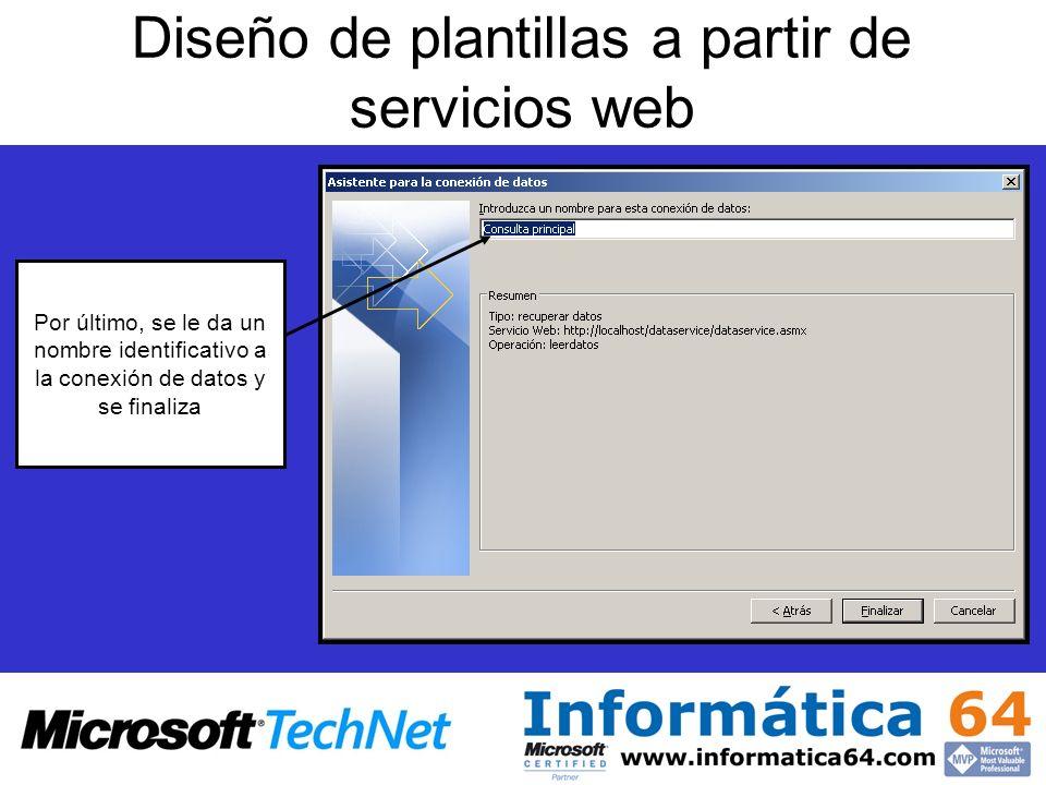 Diseño de plantillas a partir de servicios web Por último, se le da un nombre identificativo a la conexión de datos y se finaliza