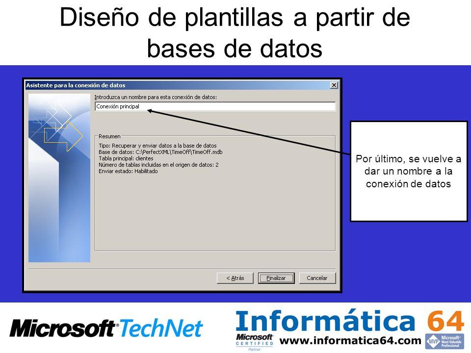 Diseño de plantillas a partir de bases de datos Por último, se vuelve a dar un nombre a la conexión de datos