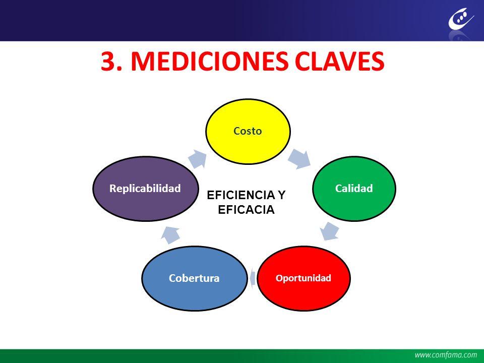 3. MEDICIONES CLAVES CostoCalidad Oportunidad CoberturaReplicabilidad EFICIENCIA Y EFICACIA