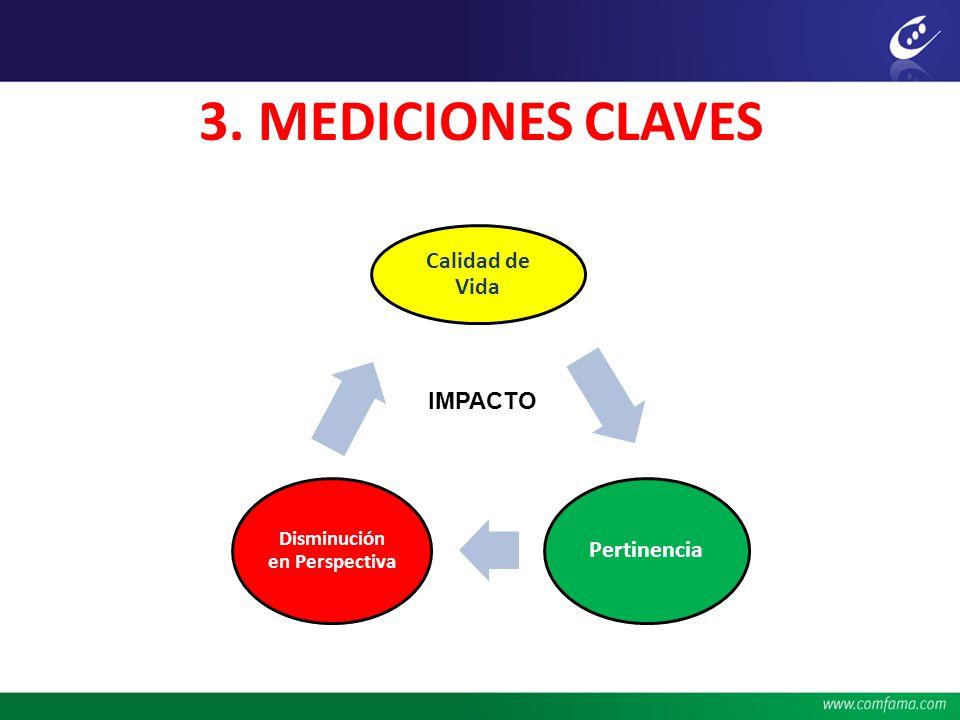3. MEDICIONES CLAVES Calidad de Vida Pertinencia Disminución en Perspectiva IMPACTO