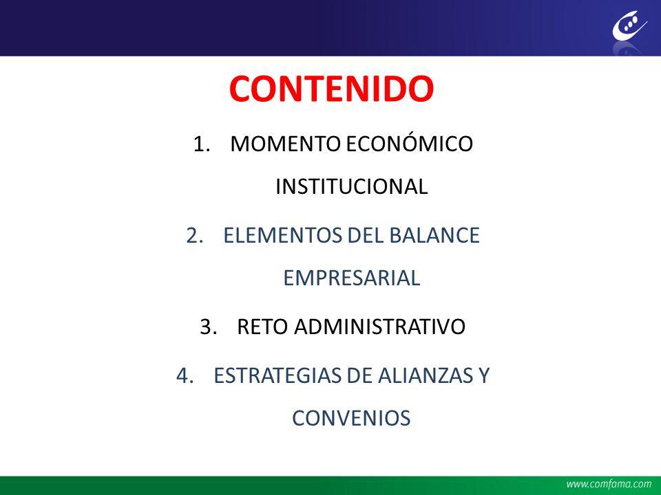 CONTENIDO 1.MOMENTO ECONÓMICO INSTITUCIONAL 2.ELEMENTOS DEL BALANCE EMPRESARIAL 3.RETO ADMINISTRATIVO 4.ESTRATEGIAS DE ALIANZAS Y CONVENIOS