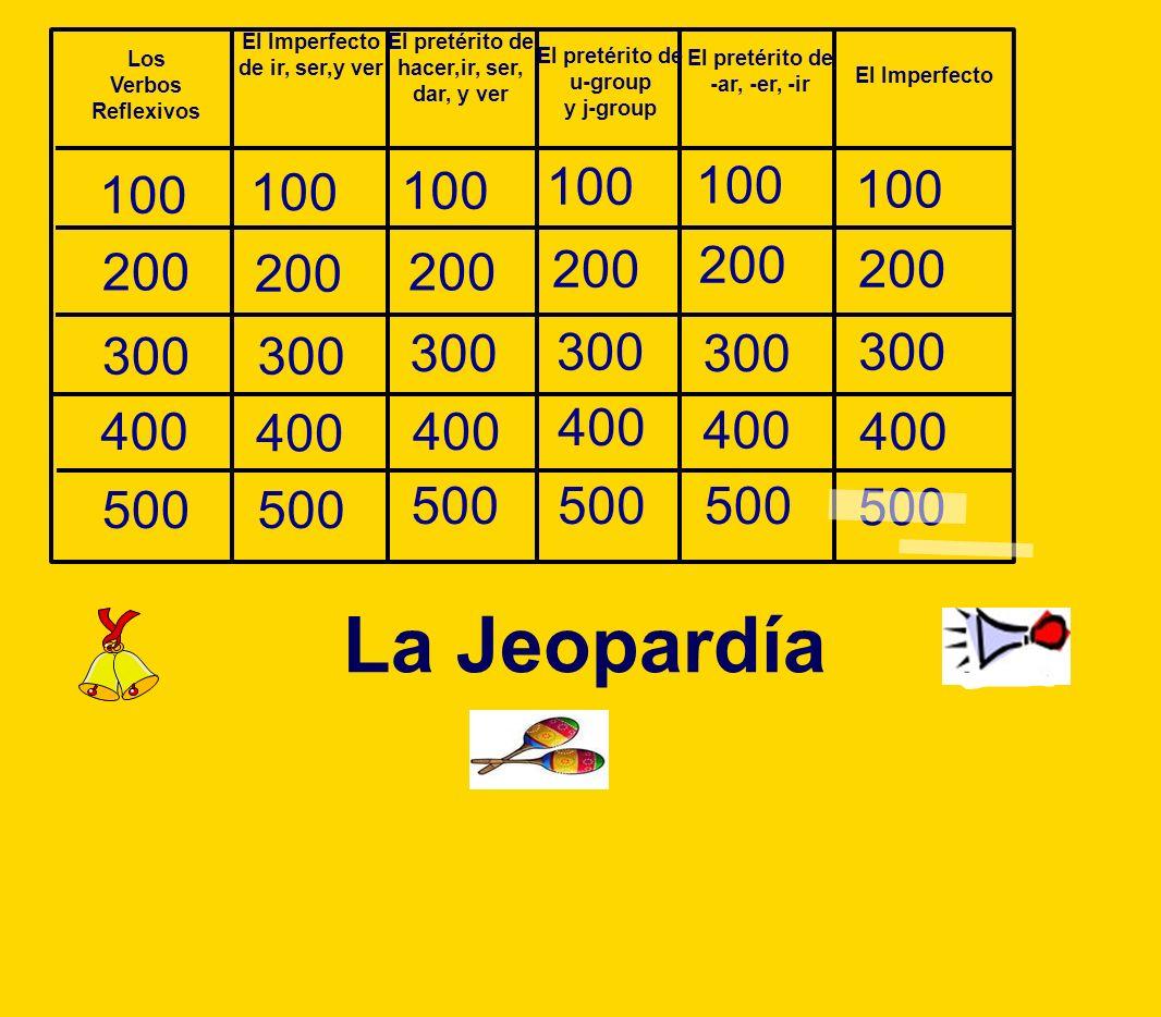 100 200 300 400 100 500 La Jeopardía El Imperfecto de ir, ser,y ver El pretérito de hacer,ir, ser, dar, y ver El pretérito de u-group y j-group El pre