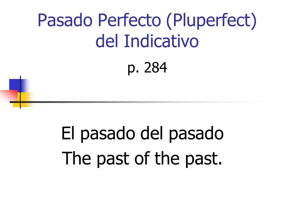 Para formar el pasado perfecto usamos el imperfecto de haber + el pasado participio (-ado,ido) Haber YoHabíaNosotrosHabíamos TúTúHabíasVosotrosHabíais Él Ella Ud.