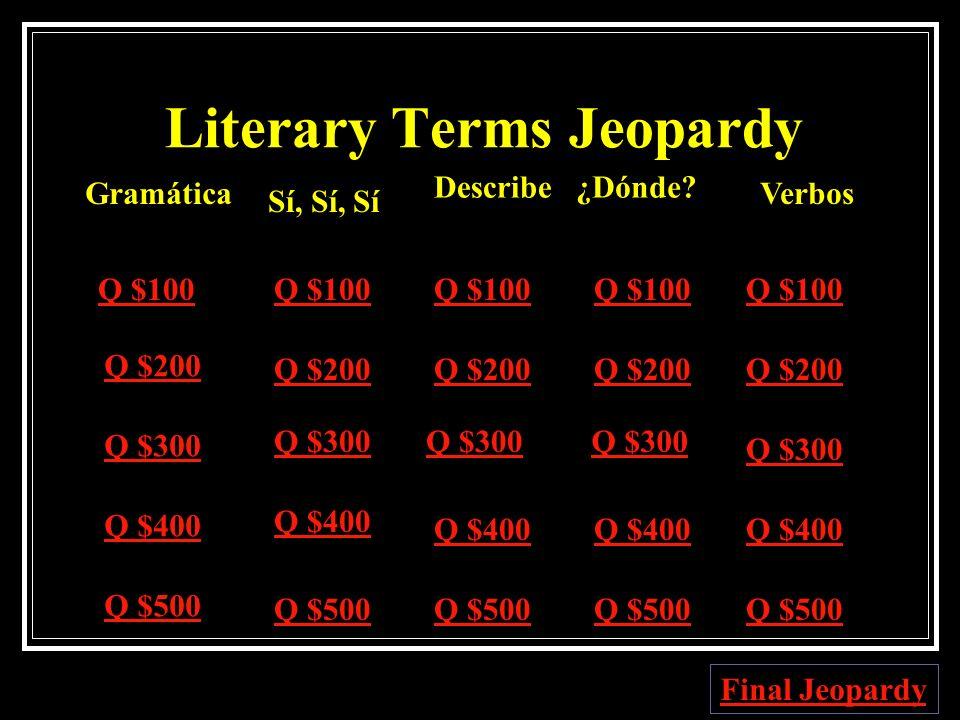 Español Jeopardy Gramática Sí, Sí, SíDescribe¿Dónde?Verbos Q $100 Q $200 Q $300 Q $400 Q $500 Q $100 Q $200 Q $300 Q $400 Q $500 Jeopardy Jeopardy Fin