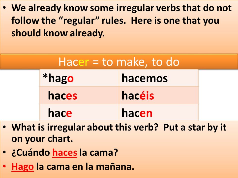Hacer = to make, to do We already know some irregular verbs that do not follow the regular rules.