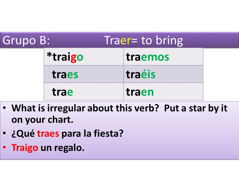 Grupo B: Traer= to bring *traigotraemos traestraéis traetraen What is irregular about this verb.
