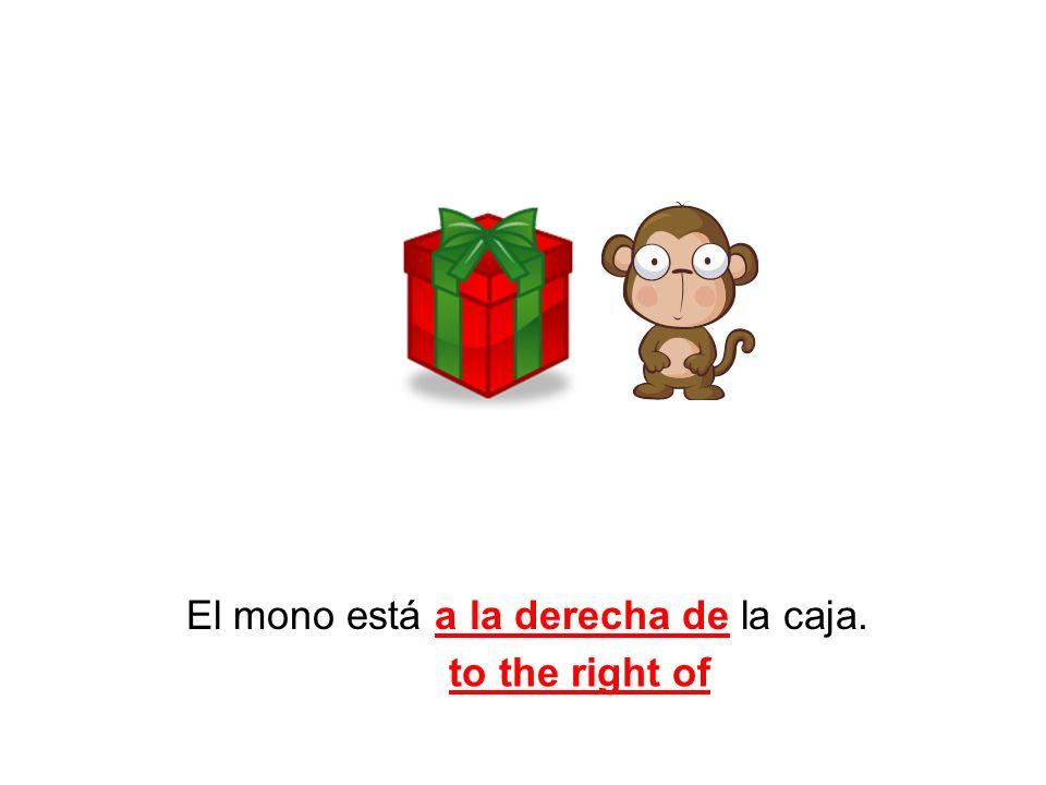 El mono está a la derecha de la caja. to the right of