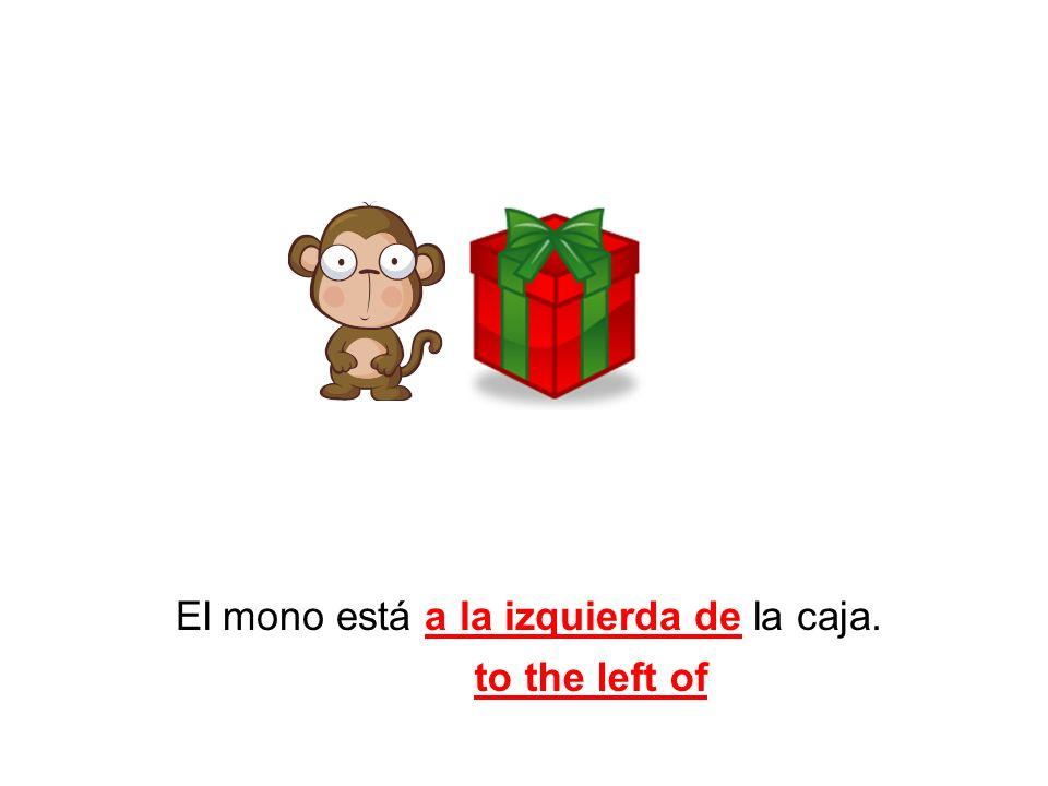 El mono está a la izquierda de la caja. to the left of