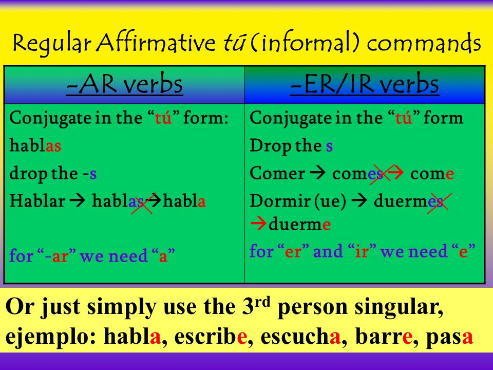 Regular Affirmative tú (informal) commands -AR verbs-ER/IR verbs Conjugate in the tú form: hablas drop the -s Hablar hablas habla for -ar we need a Conjugate in the tú form Drop the s Comer comes come Dormir (ue) duermes duerme for er and ir we need e Or just simply use the 3 rd person singular, ejemplo: habla, escribe, escucha, barre, pasa