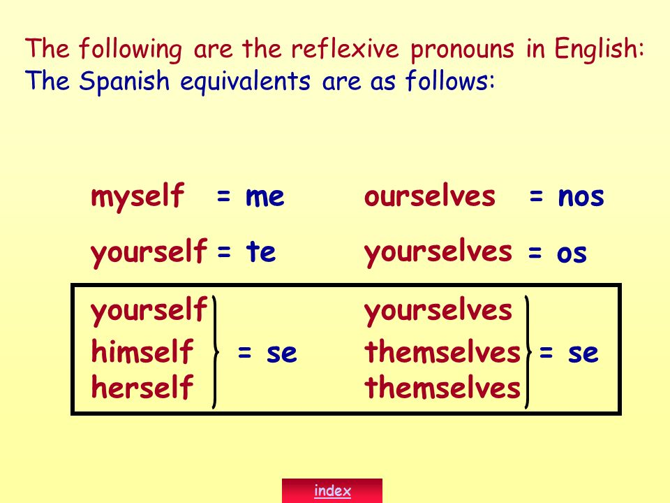 Notice the placement of the reflexive pronouns in Spanish: Sue bathes herself.