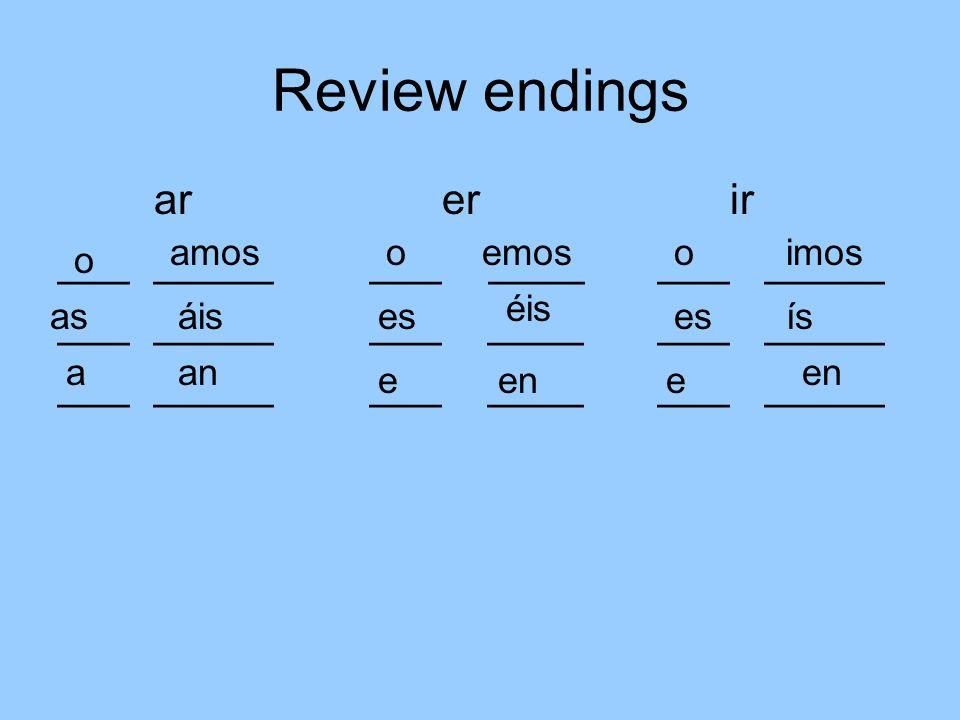 Review endings arerir ________ ___ ____ ___ _____ o as a amos áis an e es oemos éis en o es e imos ís en