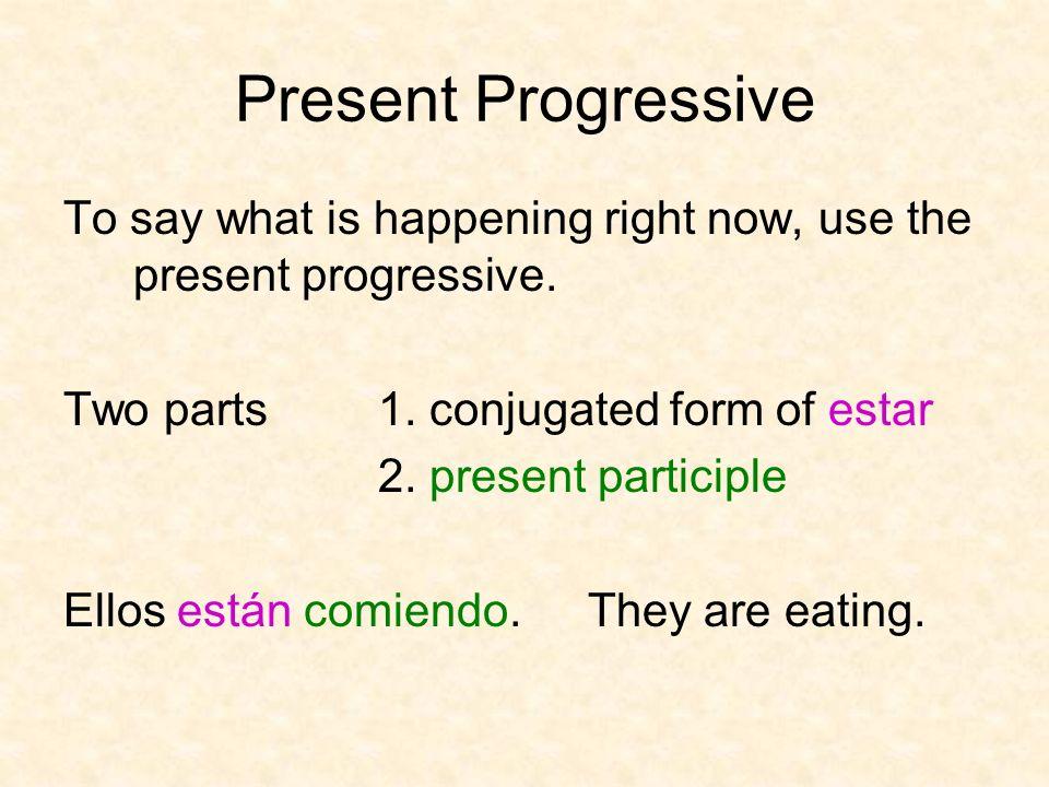 Present Progressive YoNosotros TúVosotros Ud.Él Ella Uds.