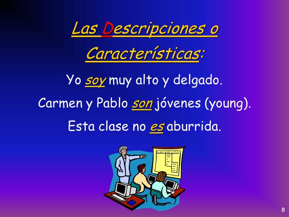 7 El Origen: es Juan es de España. es El libro es de Guatemala. son Mis primos son de Buenos Aires.