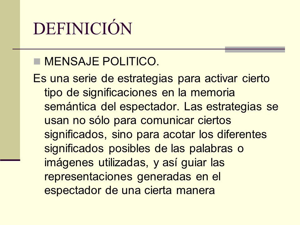 DEFINICIÓN MENSAJE POLITICO. Es una serie de estrategias para activar cierto tipo de significaciones en la memoria semántica del espectador. Las estra