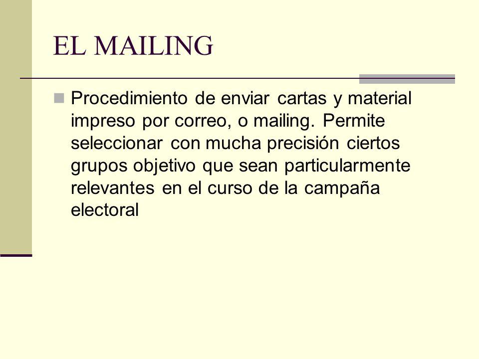 EL MAILING Procedimiento de enviar cartas y material impreso por correo, o mailing. Permite seleccionar con mucha precisión ciertos grupos objetivo qu
