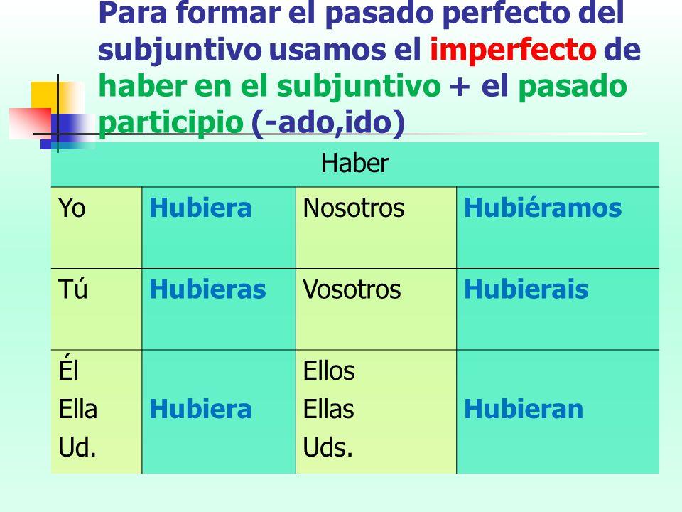 Para formar el pasado perfecto del subjuntivo usamos el imperfecto de haber en el subjuntivo + el pasado participio (-ado,ido) Haber YoHubieraNosotros