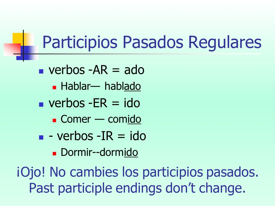 Participios Pasados Regulares verbos -AR = ado Hablar hablado verbos -ER = ido Comer comido - verbos -IR = ido Dormir--dormido ¡Ojo! No cambies los pa