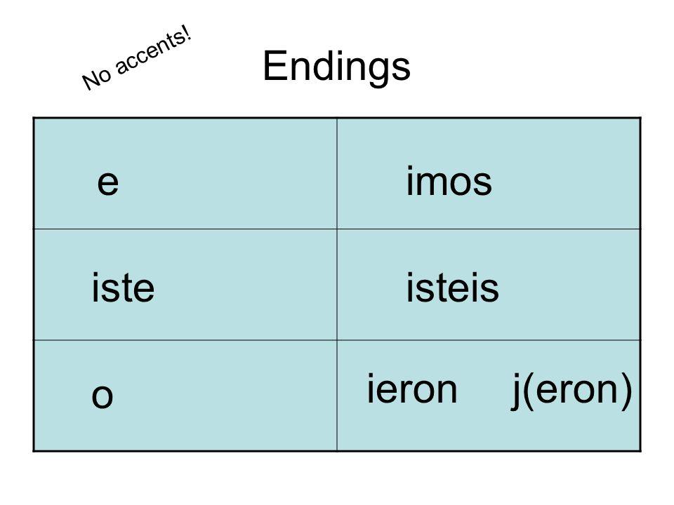 Endings e iste o imos isteis ieronj(eron) No accents!