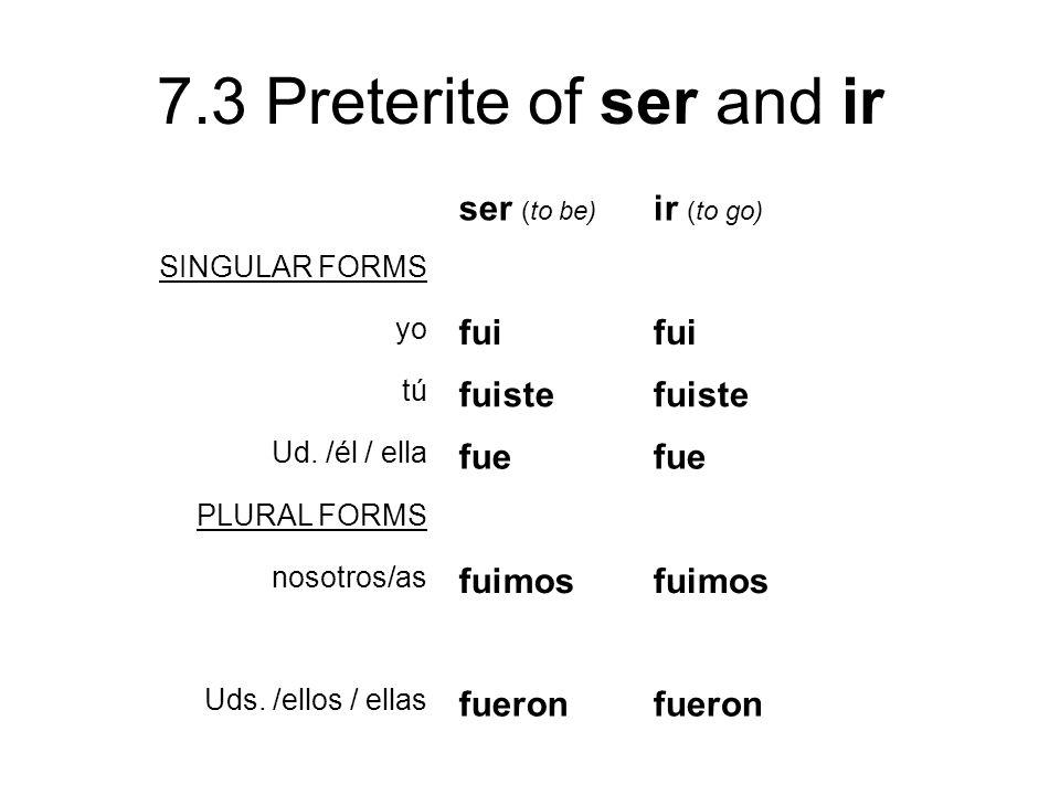 7.3 Preterite of ser and ir ser (to be) ir (to go) SINGULAR FORMS yo fui tú fuiste Ud. /él / ella fue PLURAL FORMS nosotros/as fuimos Uds. /ellos / el